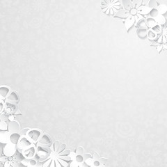 Background with paper flowers, white on gray