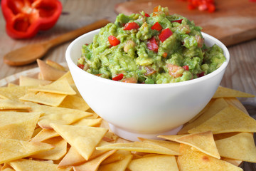 Mexican food. Home-made nachos chips and guacamole