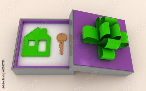Key and symbol of house in gift box