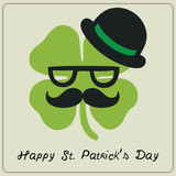 St Patricks day hipster moustached shamrock