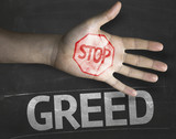 Educational composition with a hand painted Stop Greed poster