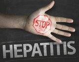 Educational composition with a hand painted Stop Hepatitis