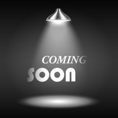 Coming Soon Text Illuminated By Spotlight
