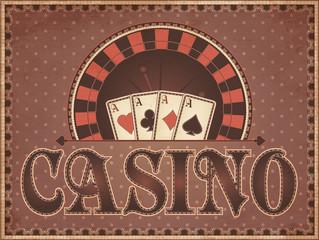 Vintage Casino invitation card, vector illustration