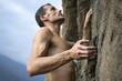 free climber su strapiombo, alpi italiane vintage
