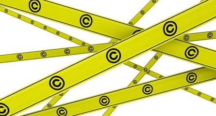 Желтая оградительная лента с символом защиты авторского права