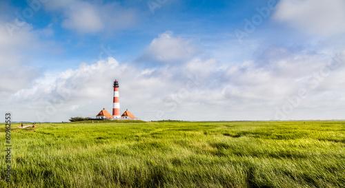Leinwandbild Motiv Beautiful landscape with lighthouse at Nordsee, Germany