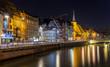 Leinwandbild Motiv Ill river embankment in Strasbourg - Alsace, France