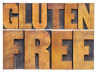 gluten free words in wood type