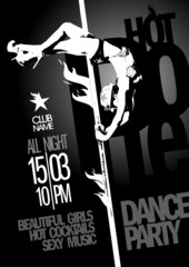 Pole dance party monochrome design