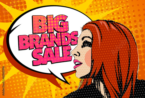 Big brands sale design with speaking girl in pop-art style