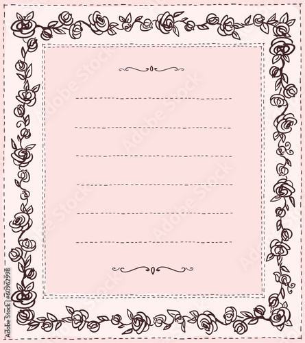 Handdrawn frame with roses