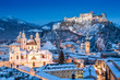 Historic city of Salzburg in winter, Salzburger Land, Austria