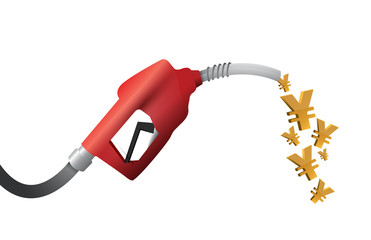 yen currency gas pump illustration design