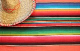 Mexican fiesta poncho rug colors with sombrero