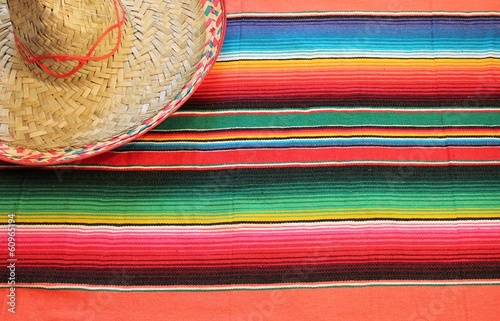 Fotobehang Mexico Mexican sombrero poncho with sombrero cinco de mayo background mexico fiesta copy space pattern stripes copy space