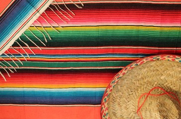 Mexican fiesta poncho rug with sombrero