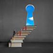 Leinwandbild Motiv Businessman climbing on stack books to key shape door