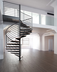 Modern maisonette with spiral staircase