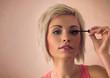 Elegant blonde beauty doing makeup