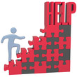 Person find HELP solution to problem