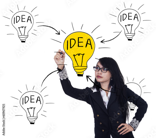 Business woman is drawing light bulb