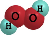 Hydrogen peroxide (H2O2) molecular structure isolated on white poster