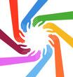 Vector Multiracial Human hands around a circle