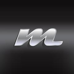 M vector metal textured letter