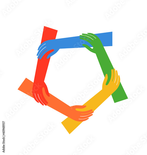 Vector Ring of five hands showing fraternity