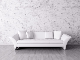 Interior with white sofa