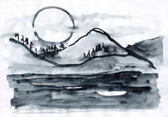 landscape monochrome with mountain