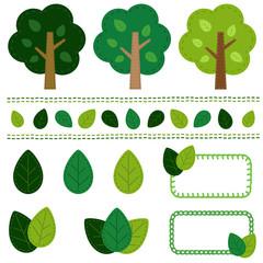 木のセット 手縫い風/vector eps