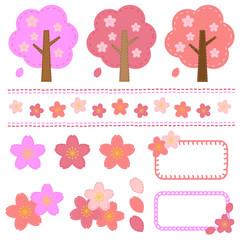 桜のセット 手縫い風/vector eps