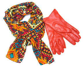 Bright patterned scarf and orange gloves