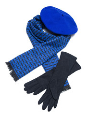 Dark blue scarf, beret and black woolen gloves