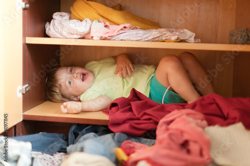 Baby girl is in the closet