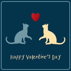 Happy Valentines Card Cats and Heart