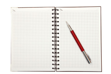 Notebook and red pen
