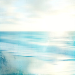 An abstract sea seascape with old paper blurred panning motion