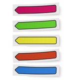 A few color self-adhesive bookmarks, sticker notes, labels