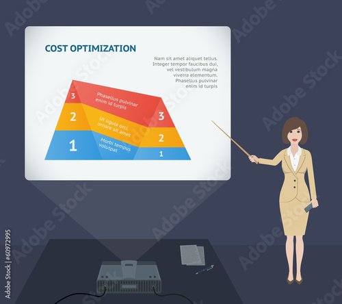 Business woman presentation speech with projector