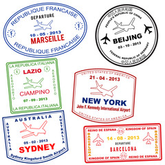Passport grunge stamps
