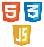 vector collection of web development shield signs: html5, css3 a