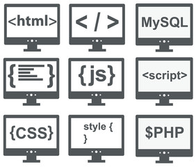 vector collection of web development icons: html, css, tag, mysq