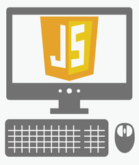 vector icon of personal computer with javascript shield on the s