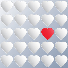 One paper red heart among whites. Vector illustration/ EPS 10