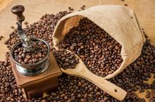 Ziarna kawy szlifierka i torba