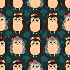 Seamless pattern of hedgehogs