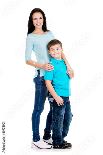 Full portrait of a happy young mother with son